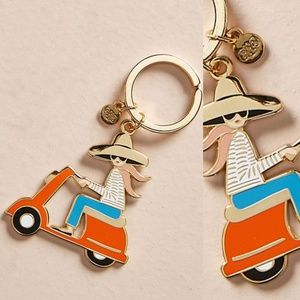 NWT ANTHROPOLOGIE Rifle Paper Scoot Girl Keychain
